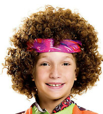 Child Hippie Fro Wig Brown Curly Afro 60s 70s Funky Headband Xmas Buddy the Elf
