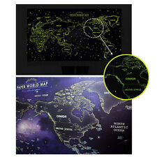 Glow in the Dark Luminous Paper World Map Travel Routes Decoration Wall Poster