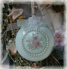 New! ~Shabby Cottage Chic Victorian Elegance Christmas Ornament Pearl Accents~