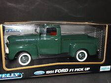 Welly 1951 Ford F-1 Pickup Truck Green 1:18 Scale Diecast Metal Model Replica