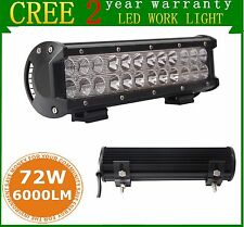 "12"" 72W Cree Led Work Light Bar Flood Spot Suv Boat Offroad Driving Lamp 12V 24V"