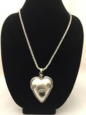 Vintage ''MEX'' Sterling Silver Heart Perfume Bottle Pendent with Necklace 925