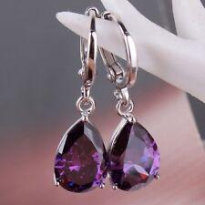 Cute 925 Sterling Silver PURPLE CZ Zircon Crystal Water-Drop Earrings jewelry UK