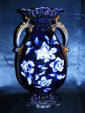 "Vintage Cobalt Blue 15"" Vase Gold Overlay Double Handled Made in England Elite"