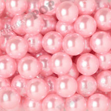 20mm - 12pcs Pink Pearl Beads Chunky Bubble Gum Acrylic Gumball Round Shiny