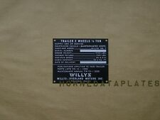 WILLYS MB.T 1/4 TON TRAILER EARLY DATA PLATE WILLYS MB FORD GPW