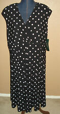 LAUREN Ralph Lauren Black Cream Polka Dots Surplice Empire Dress Size 22W NWT