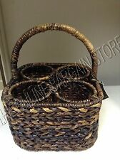 Pottery Barn Havana Woven Seagrass Wine Bottle Carrier Holder Picnic Basket