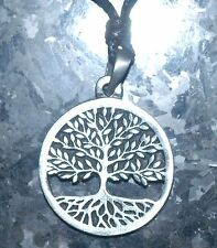 TREE OF LIFE PENDANT NECKLACE ,  PEWTER CELTIC PAGAN SYMBOL ON A CORD 30mm