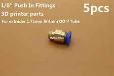 """5pcs 1/8"""" Push In Fittings F bowden extruder 1.75mm 4mm OD PTFE Tube 3D Printer"""