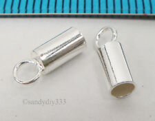 10x STERLING SILVER BRIGHT 2mm LEATHER END CAP #315
