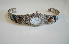 Vintage Look Bracelet Marcasite/Multy Stones Antique Special Occasion Oval Watch