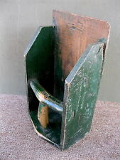 Antique Scoop Grain Seed Wood Large Primitive Original Green Paint Farm Barn