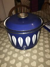 Vintage Blue & White Cathrineholm Cooking Pot- White Lotus - 1970s
