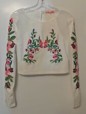 LULUMARI Anthropologie Heavily Embroidered White Knit & Mesh Top Size M NEW TAGS