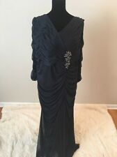 Adrianna Papell Navy Blue Long Sleeve Evening Gown Mother of Bride Dress 20W