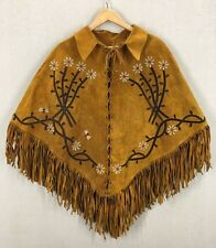 Vintage 70's Fringed Suede Leather Flower Motif Cape Bohemian Poncho