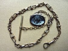 Antique Victorian Heavy Rolled Gold Pocket Watch Chain & Molded Cameo Fob #1