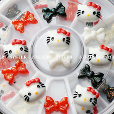 12 Pcs 3D Hello Kitty Fimo Slice & Bow Tie DIY Nail Art Decoration+Wheel #SB-017