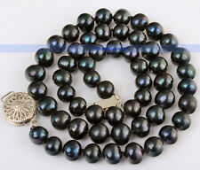 "17"" AAA 7-8MM Black Freshwater Pearl Necklace 