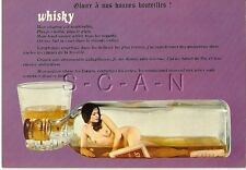 Original 1960s French Pinup PC- Semi Nude Woman in a Whiskey Bottle- Tumbler
