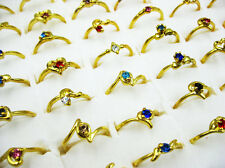 HOT ON SALE Wholesale Lots 50pcs Rhinestone Silver Plated Rings New Free J29