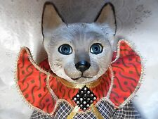 "HERITAGE 1994 BLUE SIAMESE CAT DOLL, PORCELAIN & CLOTH 14"" TALL"