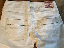 TRUE RELIGION BRAND JEANS SAMMY BIG T CROPPED CAPRIS SIZE 26 off white PERFECT