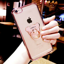 Cute Metal Bear Ring Holder Stand Soft Clear Back Case Cover for iPhone/Samsung