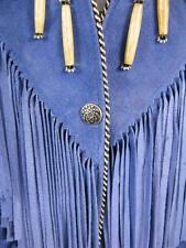 TRIBE AMERICA Size 14 Large Native American Blue Suede Leather Coat Jacket USA