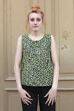 Damen Shirt Top 38 schwarz neon gelb black 90er True Vintage 90s ärmellos Sommer