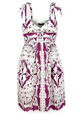 New Womens ladies gorgeous white purple printed Summer Dress size 16