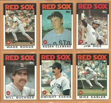 1986 Topps Boston Red Sox Team Lot 31 Wade Boggs Roger Clemens Jim Rice Buckner