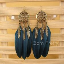 1Pair Plume feuille Boucles d'oreilles Earrings Vintage Feather pendentif Métal