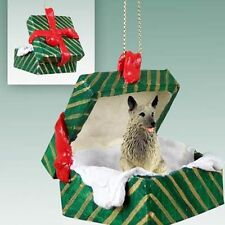Norwegian Elkhound Dog Green Gift Box Holiday Christmas ORNAMENT