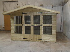 """10 x 8 fully tanalised apex summerhouse 3x2 cls 19mm shiplap 1"""" thick floor."""