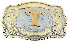 Initial Letter T Western Extra Large Rodeo Cowboy Belt Buckle