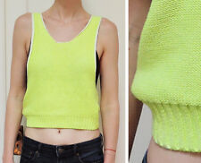 H&M DIVIDED Tank Top Vest Crop Knit Sweater Neon Bright Lime Yellow 4 UK 8 S XS