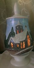 Ceramic Mold Holiday Jar Church Stained Glass Illuminated Hand Painted Christmas