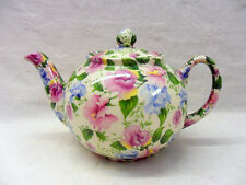 Pink and Blue sweet pea chintz design 2 cup teapot by Heron Cross Pottery