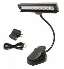 10 LED Lamp Light Flexible Clip-On Black Orchestra Music Stand With Adapter