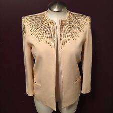 Nolan Miller Dynasty Collection Ivory Rhinestone Blazer Jacket Women's Size 12