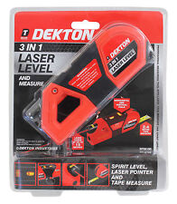 Spirit Level Laser Pointer Laser Level & Measure 3 In 1 Tape Measure Dekton NEW
