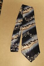 Piano Keyboards  Music Notes On A New Poly Blue Neck Tie Harris 58'' L 3.8'' W