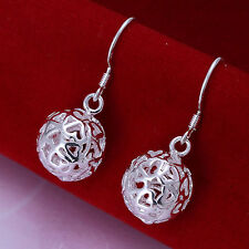 Lovely Womens 925 Sterling Silver Plated Filigree Style Hollow Ball Earrings.