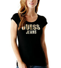 NEW Genuine GUESS Black Sparkly Sequin Logo T Shirt Womens Size Medium