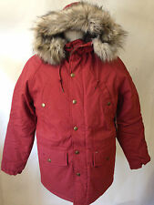 Obey Men's Hooded Parka Montreal Brick Size S NWT Faux Fur Trim Sherpa Lining