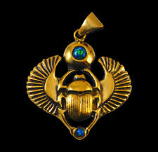 Bronze Ancient Egyptian Scarab Beetle Khepera Pendant w/Chain-Free Ship/In Stock