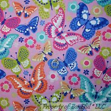 BonEful Fabric Cotton Quilt Pink Blue White BUTTERFLY Purple Flower Dot NR SCRAP