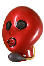 Inflatable latex hood with breath pipe and mirror eyes, rubber gummy mask (L/XL)